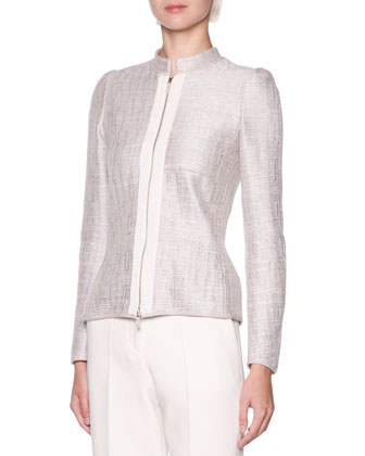 Grosgrain-Trim Metallic Tweed Jacket & Stretch Twill Slim-Leg Pants