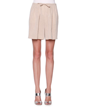 Pleated Linen-Blend Bermuda Shorts