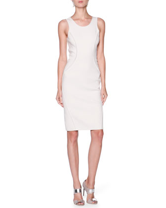 Seamed Knit Round-Neck Dress