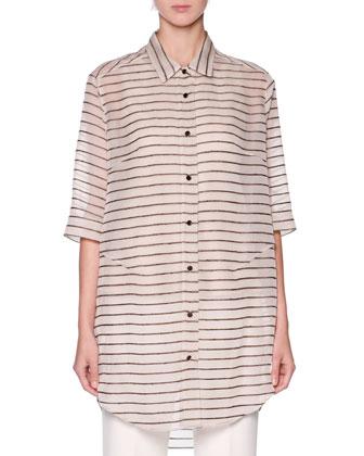 Striped Oversized Button-Front Tunic, Beige