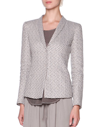 Exaggerated-Chevron Shawl-Collar Jacket