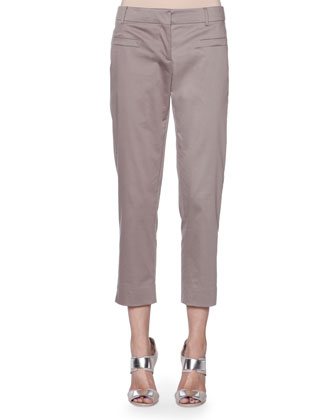 Cropped Cotton-Blend Stretch Pants, Gray