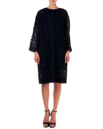Lace Topper Coat, Black