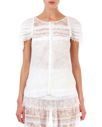 Lace Top with Pearly Trim, Natural