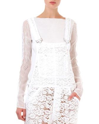 Long-Sleeve Sheer Top, Blanc