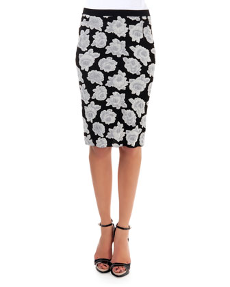 Floral Jacquard Sweater & Skirt