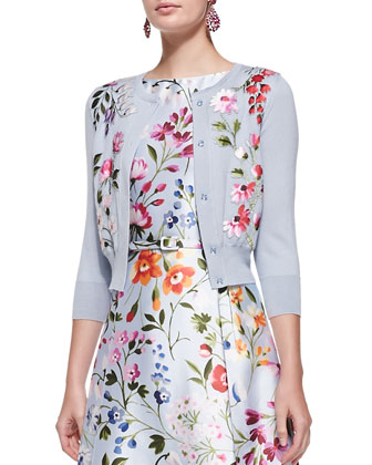 3/4-Sleeve Floral Embroidered Cardigan & Floral A-Line Dress with Self Belt