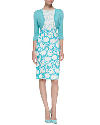 3/4-Sleeve Cotton-Silk Bolero Jacket & Sleeveless Two-Tone Floral Sheath Dress