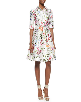 Half-Sleeve Floral-Print Shirtdress