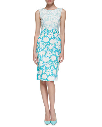 Sleeveless Two-Tone Floral Sheath Dress
