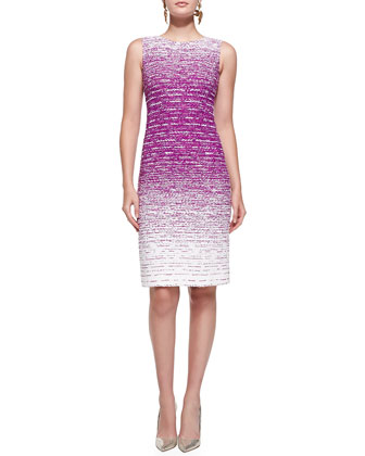 Sleeveless Ombre Tweed Sheath Dress