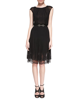 Cap-Sleeve Lace-Bottom Dress