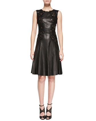 Sleeveless Leather Dress with Cutouts, Black