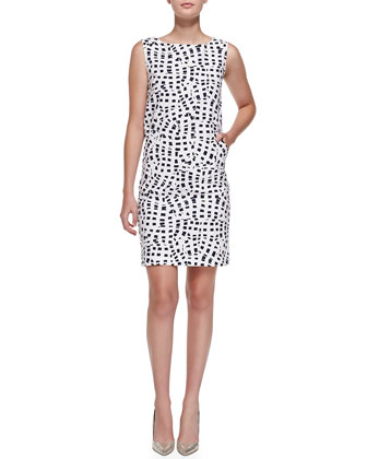 Sleeveless Square-Print Shift Dress