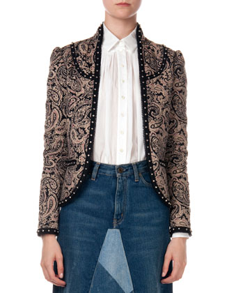 Paisley Jacket with Stud Trim