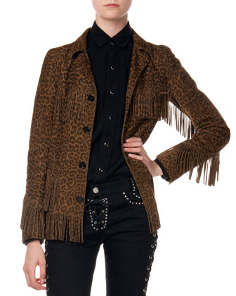 Suede Fringed Leopard-Print Jacket, Twill Snap-Down Army Shirt & Studded ...
