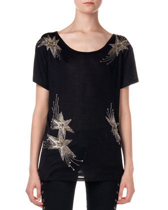 Embroidered Star Silk Tee