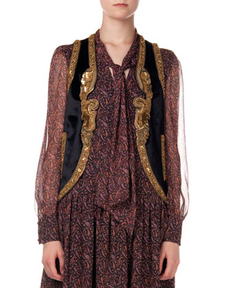 Metallic Embroidered Velvet Vest