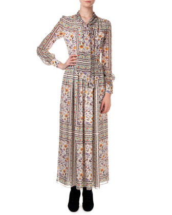 Long-Sleeve Multi Floral-Print Dress