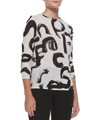 Long-Sleeve Tissue Jersey Top, White/Black