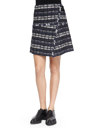 Tweed Skirt with Fringe