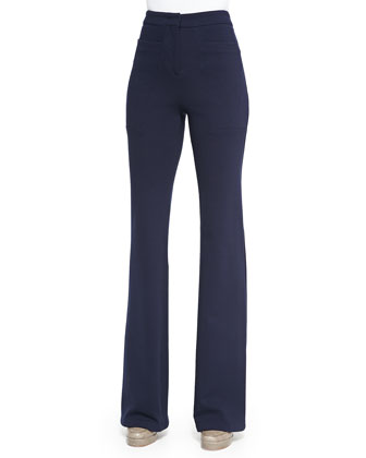 Double-Knit Flared Trousers