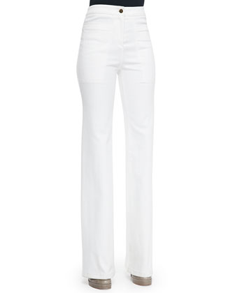 High-Waist Wide-Leg Denim Pants, White