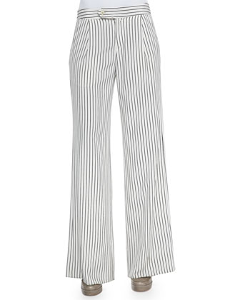Striped Flared Crepe Pants