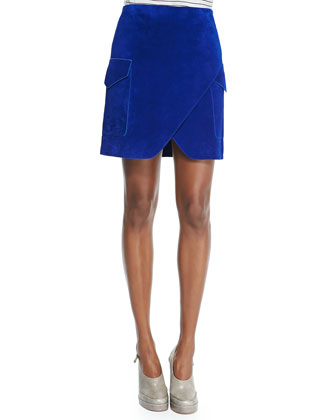 Nubuck Short Cargo Skirt with Notched Hem