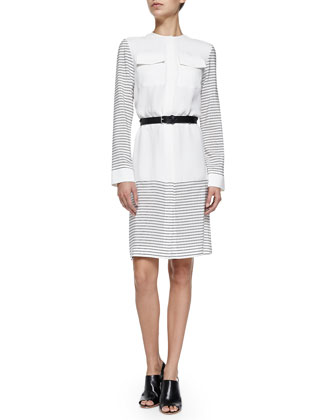 Long-Sleeve Stripe/Solid Silk Shirtdress