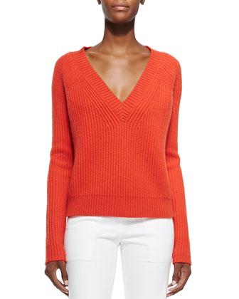 Cashmere V-Neck Cable-Knit Sweater