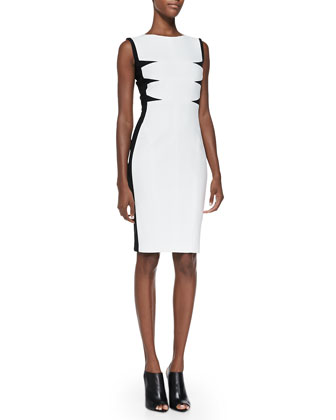 Triangular-Inset Scuba Dress, White/Black