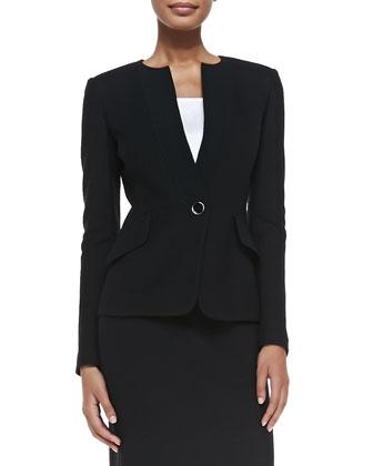 Nouveau Boucle Knit Jacket, Caviar