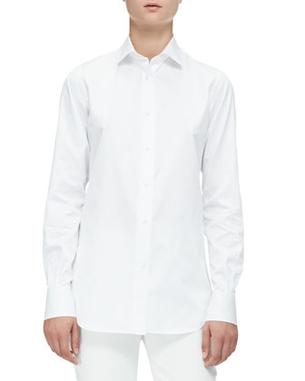 Kara Cotton Poplin Blouse, White