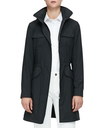 Freetime Long Trench Coat with Flap Pockets