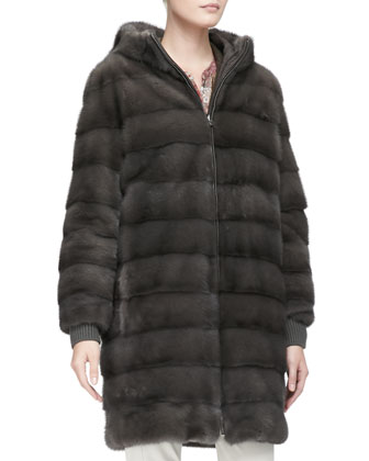 Reversible Mink Fur & Tech Fabric Coat, Mud Brown