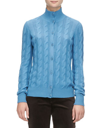 Cashmere Cable Bomber Cardigan, Blue