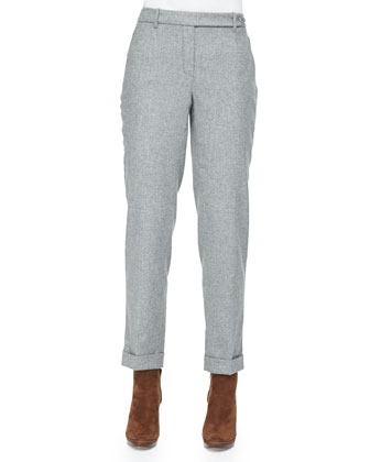 Cashmere Melange Flannel Pants, Gray
