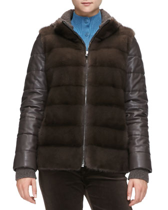 Quilted Leather & Mink Fur Jacket