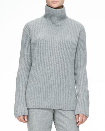 Cashmere Melange Ribbed Sweater, Gray