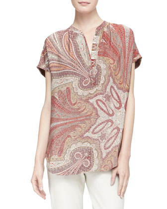 Flame Red and Dragon Paisley Silk Blouse