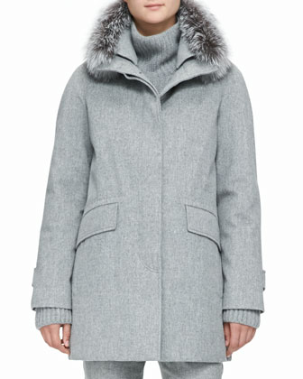 Cashmere Melange Storm Coat with Fox Fur Trim