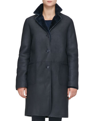 Long Reversible Shearling Coat, Catalina Blue