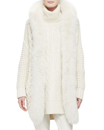 Cashmere Cable Long Cardigan with Detachable Fox Fur Collar