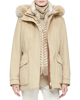 Cashmere Storm Jacket with Fox Fur Hood
