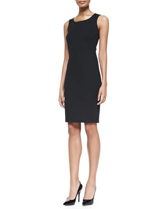 Milano Pique Knit Scoop-Neck Dress, Caviar