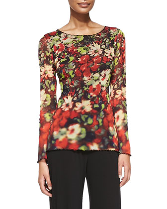 Long-Sleeve Printed Flowers Top