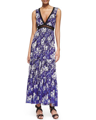 Printed Lace-Inset Tiered Maxi Dress