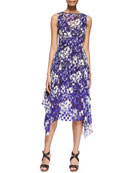 Mixed-Print Scarf-Hem Dress