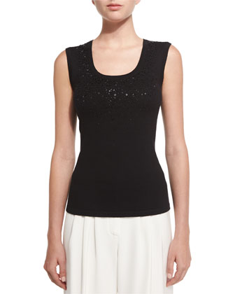 Front-Beaded Knit Shell, Black